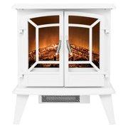 "AKDY FP0076 20"" Freestanding Portable White Electric Fireplace 3D Flames Firebox Heater w/ Logs"