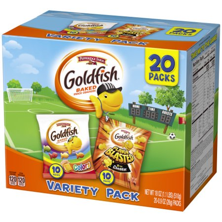Pepperidge Farm Goldfish Colors Cheddar and Flavor Blasted Xtra Cheddar Crackers, 18 oz. Variety Pack Box, 20-count 0.9 oz. Single-Serve Snack - Bones Variety Pack