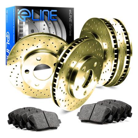 For 2000 Audi TT Front Rear eLine Gold Drilled Brake Rotors + Ceramic Brake Pads