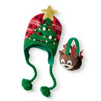 Holiday Time Festive Christmas Tree Hat and Reindeer Earwarmer 2-Piece Set