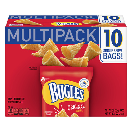 Bugles Original Crispy Corn Snacks 10 Bag Mulitpack, 8.75