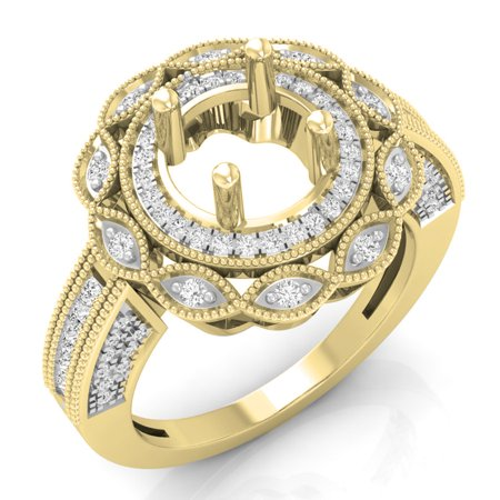 0.60 Carat (ctw) 18K Gold Princess & Round White Diamond Bridal Semi Mount Fashion Engagement -