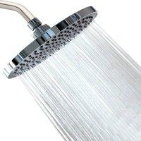 showeryn rainfall high pressure high flow 8 rain fall shower head - chrome & stainless steel - removable water restrictor