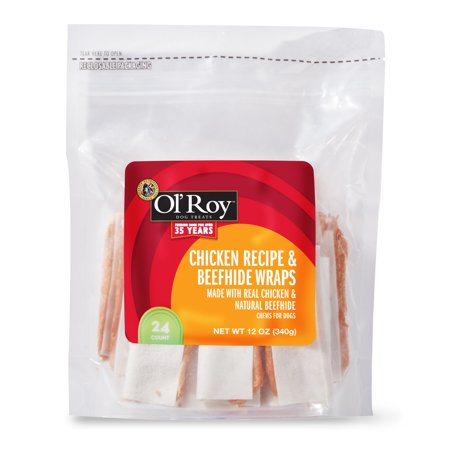 Ol' Roy Chicken Recipe & Beefhide Wraps Chews for Dogs, 12 oz, 24 -