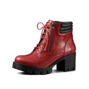 9c8e740d28 Women's Chunky Heel Lace Up Zipper Combat Boots Red (Size ...