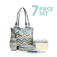 SoHo Collections Diaper Tote Travel Bag 9 Piece Complete Set Louvre (Chevron)