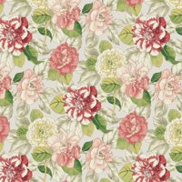 Waverly Inspirations GARDEN CORAL 100% Cotton duck fabric, Quilting fabric, Home Decor ,45'', 180GSM