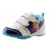 e546a674f9100 Disney Frozen Toddler Girls White Blue Fashion Light Up Sneakers Shoes