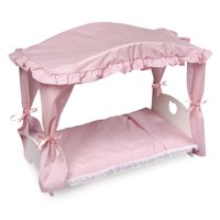 "Badger Basket Canopy Doll Bed with Bedding - White/Pink - Fits American Girl, My Life As & Most 18"" Dolls"