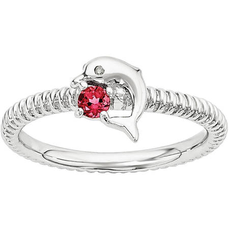 Created Ruby and Diamond Sterling Silver Dolphin