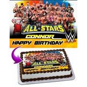 WWE WrestleMania Cake Image Personalized Topper Edible Birthday 1 4 Sheet