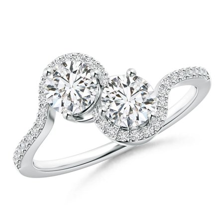 2 Diamond Platinum Engagement Ring (Two Stone Diamond Bypass Engagement Ring with Accents in Platinum (Weight: 0.86ctwt) )