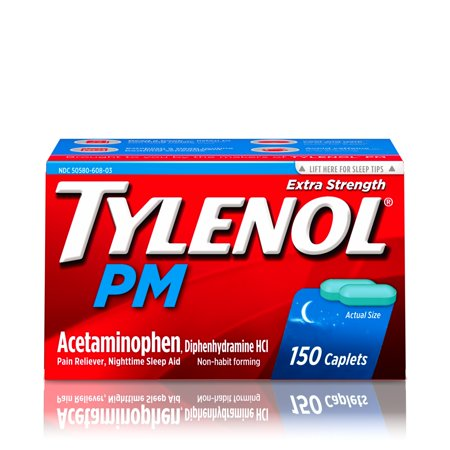 Tylenol PM Extra Strength Pain Reliever & Sleep Aid Caplets, 150 ct