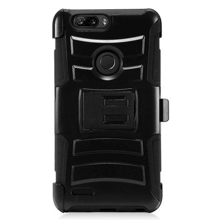 For ZTE ZFive G LTE / ZFive C / Avid 4 / Fanfare 3 / Blade Vantage / Tempo X / Tempo Go Case Advanced Armor Hybrid Phone Cover Kick Stand w/ Holster (Black/Black)
