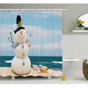 1eb0da05773 Snowman Shower Curtain, Winter Vacation Holiday Theme Snowman with  Seashells Sitting on Sandy Beach Coastal