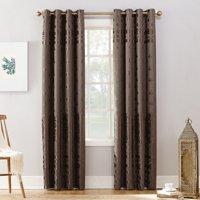 Sun Zero Elidah Velvet Texture Medallion Blackout Grommet Curtain Panel