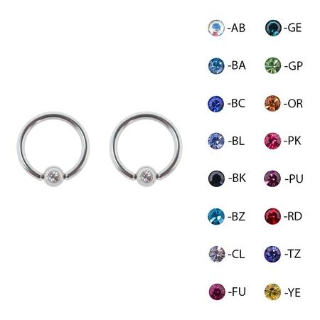 Lex & Lu Pair of Steel Captive Bead Ring CBR Earrings w/Gem 16 & 14 (Flexible Uv Captive Bead Rings)