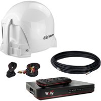KING VQ4450 DISH Tailgater Bundle - Portable Satellite TV Antenna with DISH Wally HD Receiver for RVs, Trucks, Tailgating, Camping and Outdoor