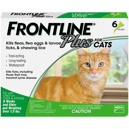 FRONTLINE Plus for Cats and Kittens (1.5 lbs and over) Flea and Tick Treatment, 6 Doses
