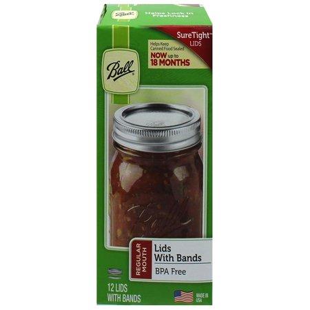 Ball Regular Mouth Jar Lids and Bands, 12 Count - Mason Jar Plastic Lids