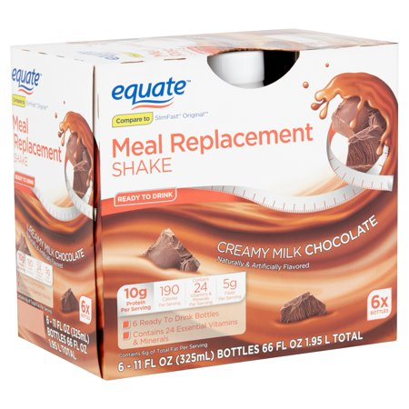 Equate Creamy Milk Chocolate Meal Replacement Shake, 11 fl oz, 6