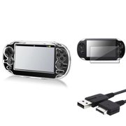 Insten Clear Crystal Case+USB Cable+Screen Protector For Sony Playstation PS Vita PSV