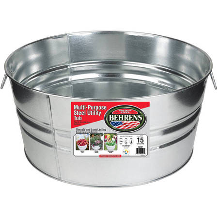- Behrens High Grade Steel 2GS 15 Gal Silver Galvanized Steel Round Tub