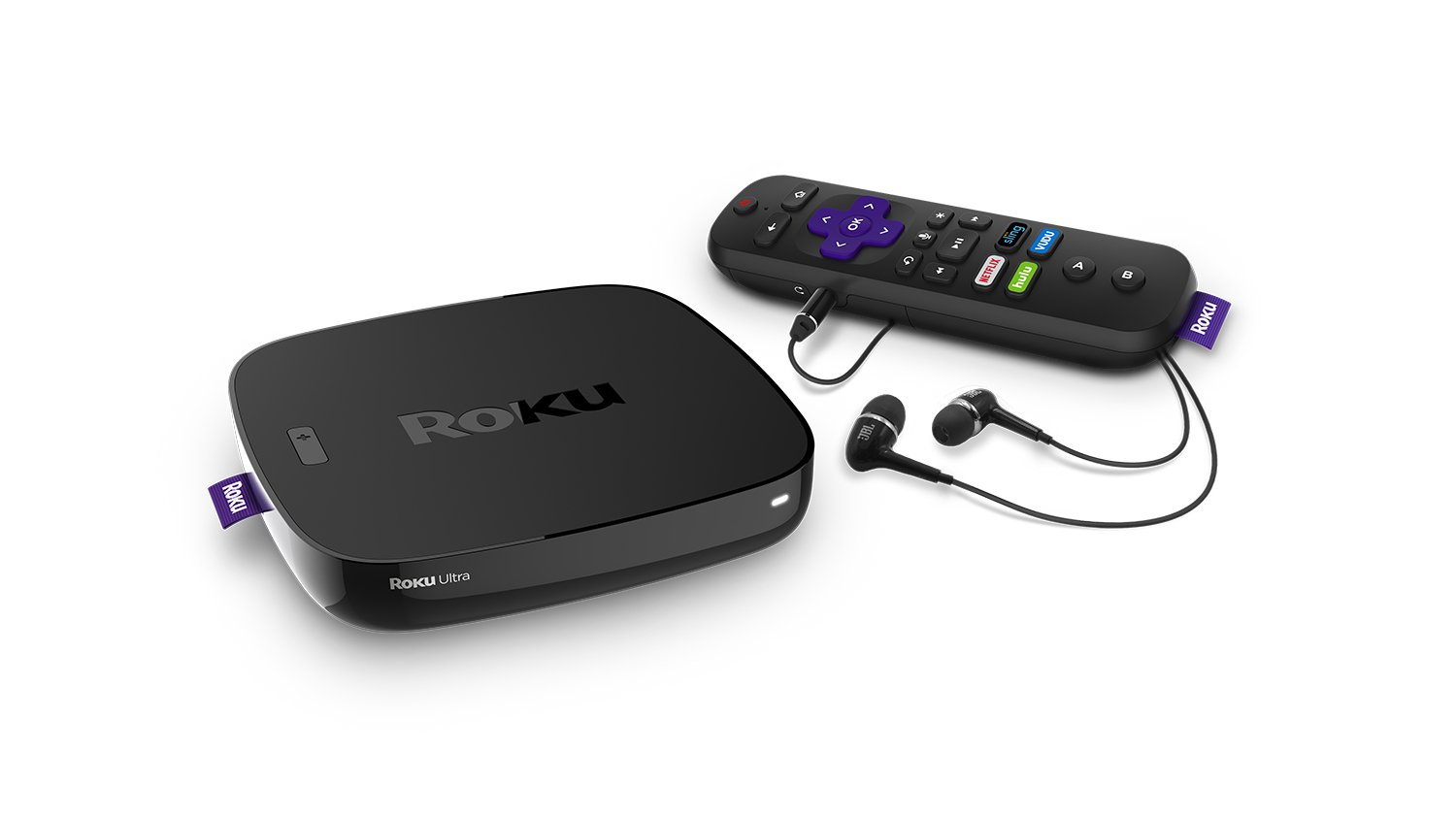 Roku Ultra 4K HDR Streaming Player (2018) with JBL headphones