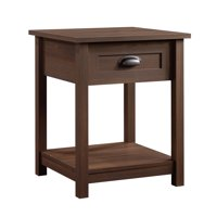 Sauder County Line 1 Drawer Nightstand, Rum Walnut Finish