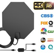 80-100 Miles Long Range Indoor Amplified TV Antenna - 2019 Upgraded Digital HDTV Antenna with Detachable Amplifier Channels Signal Booster Free TV for 4K 1080P VHF UHF High Reception with 18ft Cable