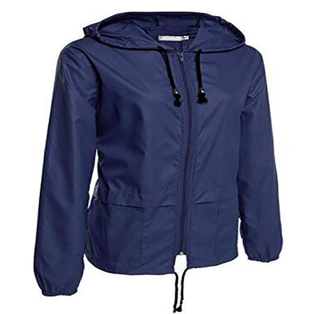 JustVH Women's Lightweight Jackets Waterproof Windbreaker Packable Outdoor Hooded Active Hiking Raincoat ()