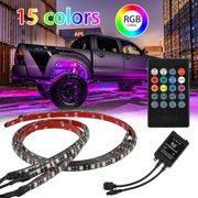 4Pcs 15 Colors Multicolor RGB IR Remote LED Strip Under Car Tube Underglow Music Sound Active