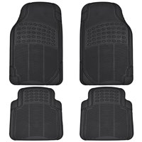 BDK All Weather Rubber Floor Mats for Car SUV & Truck - 4 Pieces Set (Front & Rear), Trimmable, Heavy Duty Protection (Black)