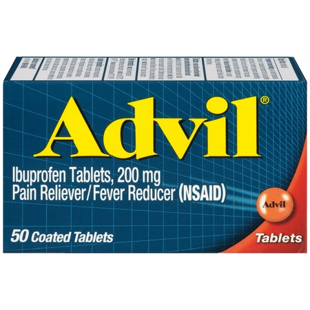 Advil (50 Count) Pain Reliever / Fever Reducer Coated Tablet, 200mg Ibuprofen, Temporary Pain -