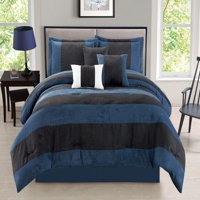 Luxurious Queen Size 7-Piece Comforter Set Van Dam Micro Suede Soft Bed in a Bag Multi-Tone Navy & Black