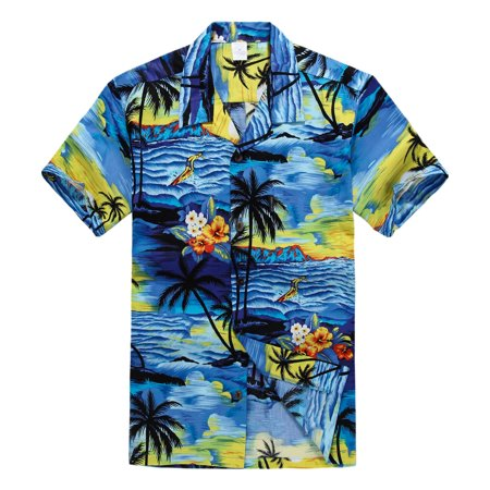 Hawaiian Shirt Aloha Shirt in Sunset Blue