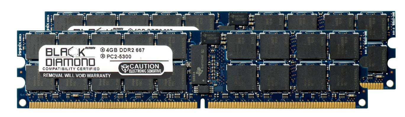8GB 2X4GB Memory RAM for Asus RS Series RS163-E4/RX4, RS160-E5 240pin PC2-5300 667MHz DDR2 RDIMM Black Diamond Memory Module Upgrade ()