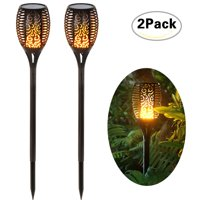 Loryro Solar torch lights Solar Lights Dancing Flames LED Waterproof Wireless Flickering Torches Lantern Outdoor for Garden Patio Yard (2 pack)