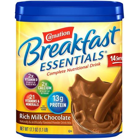 (2 pack) Carnation Breakfast Essentials Powder Drink Mix, Rich Milk Chocolate, 17.7 oz. Canister