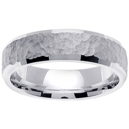 White Gold Flat Top (14K White Gold Flat Top Modern Comfort Fit Women's Wedding Band (6mm) )