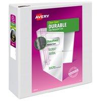 "Avery Durable View Binder, 4"" EZD Rings, 780-Sheet Capacity, DuraHinge, White (09801)"