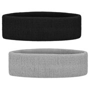b1da180719c GOGO 2PCS Terry Cloth Sports Headbands Sweat Bands for Working Out Black    Grey