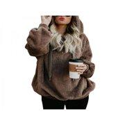 Ropalia Wool Velvet Women's Long Sleeve Hoodie Sweatshirt Jumper Warm Sweater Pullover Top Fashion Thick Sweatshirt