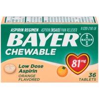 Bayer Chewable Aspirin Regimen Low Dose Pain Reliever Tablets, 81mg, Orange, 36 Ct