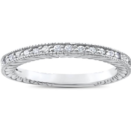 1/5ct Heirloom Diamond Vintage Wedding Ring 14K White Gold Womens Antique Band