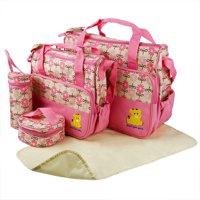 GPCT Baby Diaper Tote Stylish Nappy Messenger Insulated Bag 5 Piece Set. Large Medium Handbag, Food/Bottle Bag, Shoulder Straps. Great Washable Convertible Bag- Mom & Dad. Best Baby Shower Gift! Gray