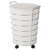 Honey Can Do Steel Frame Rolling Hamper with Canvas Bag, Chrome/Natural