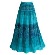 d078bbc3d Women's Peasant Skirt - Tiered Broom Style in Caribbean Turquoise Blue