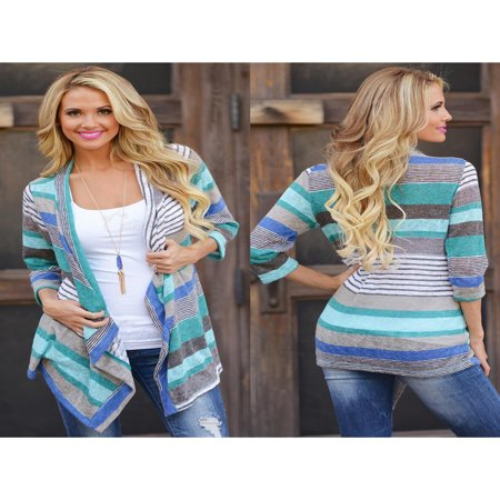 3/4 Sleeve Knit Sweater (Cyber Monday Clearance! Blue Striped Printed Lightweight Kimono Cardigan for Women, Open Front Draped Kimono Loose Cardigan Sweater for Juniors, 3/4 Sleeve Knitted Cardigan Gift for Ladies,)