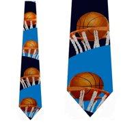 Basketball Rim Shot (Navy) Necktie Mens Tie